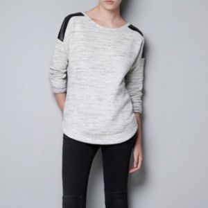 Zara Trafaluc Sweater with Faux Leather Shoulders